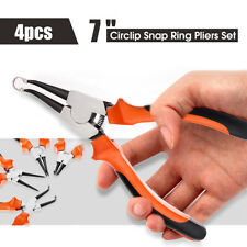 4pcs 7'' Protable Circlip Snap Ring Pliers Set Internal External Bent Straight