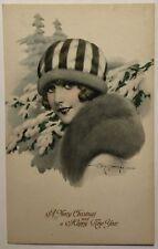 "F. Meschini Artist Signed Christmas Postcard Lady with Hat & Colllar ""Eros"""