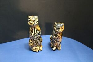 Lot of 2 La Vie Safari Ceramic Patchwork Figurine Leopard Cheetah Cat