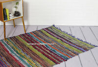 BLUE LARGE CHINDI RAG RUG HAND LOOMED INDIAN FAIR TRADE RECYCLED WOVEN MAT 5*3FT