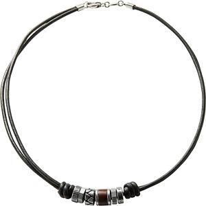 FOSSIL Herren Kette - 925 Sterling Silber Edelstahl - Schwarzes Ledercollier