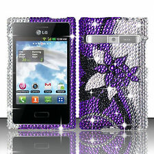 LG Optimus Zone VS410 Crystal Diamond BLING Hard Case Cover Purple Silver Vines