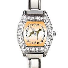 Whippet Dog Cubic Zirconia Lady Stainless Steel Italian Charm Wrist Watch BJ1073