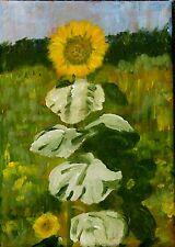 SUNFLOWER PAINTING - Original ACRYLIC SMALL A single FLOWER box canvas 5 x 7 Ins