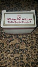 Avon 1876 Cape Cod Ruby Red Glass NAPKIN RINGS with Original Box, Set of 4