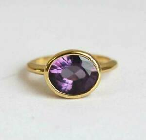 2Ct Oval Cut  Amethyst Solitaire Women's Engagement Ring 14K Yellow Gold Finish