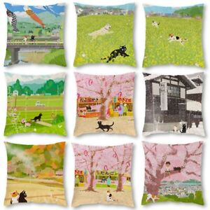 Traveling Cat Cotton Linen Pillow Case Throw Cushion Cover Home Sofa Bed Decor