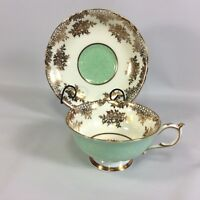 Paragon Double Warrant Tea Cup Wide Mouth Saucer Heavy Gold Filigree mint Green