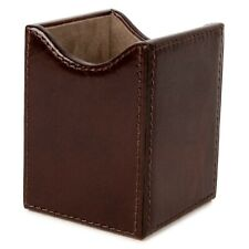 Wooden Structure Genuine Leather Pen Desk Holder Handicraft Cup Case Organizer