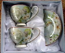 """WHITE ROSE"" BONE CHINA 2 CUPS & 2 SAUCERS IN MATCHING BOX KITCHEN TEA GIFT"