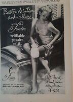 1947 women's slip hosiery legs Le Sonier refillable powder mitt vintage ad