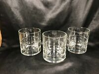 Set of 3 Vintage Anchor Hocking Clear Glass CARLYLE Block Optic Tumblers