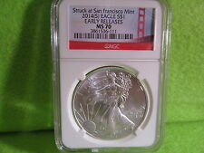 2014 (S) SILVER EAGLE NGC MS 70 BRIDGE LABEL EARLY RELEASES 047