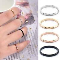 2mm Thin Stackable Ring Stainless Steel Plain Band Women Men Jewelry Size 5-10