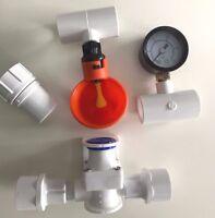 4 Cup Poultry Watering System + Tees, Pressure Regulator, Gauge + Hose Adapter