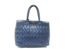 Auth miu miu Gathered Bag RN1096 Navy Leather Handbag w/ Shoulder Strap