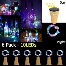 6pcs Solar LED Copper Wire String Lights Wine Bottle Cork Shape Fairy Lamp Decor