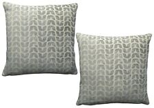 Pack of 2 Geometric/ Distressed Leaf Design Woven Cushion Covers Grey/ Off White