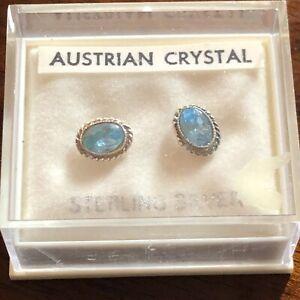 Vintage Viva Ultra Blue Austrian Crystal 925 Silver Oval Pierced Earrings In Box