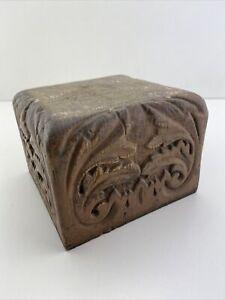 Antique  OAK NEWEL POST Cap Hand carved 5.5x5.5