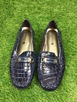 Shuropody Size 5 Eur 38 Navy BluPatent Leather Moccasin Style Croc Pattern Shoes