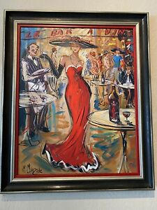 "Marc Clauzade ""Le Bar a Vin"" Lithograph Signed And Numbered Lady In Red"
