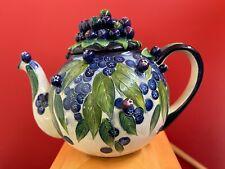 Blue Purple Blueberry Ceramic Teapot Tea Pot Hand Painted J McCall 2004 Blue Sky