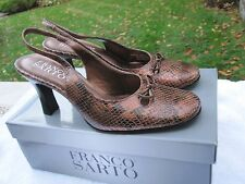 Franco Sarto Copper Faux Python Leather Sling Back Heels- 7.5