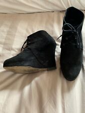 Ooening Ceremony Wedge Ankle Boots Black Suede Size 6 Uk