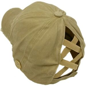 C.C Ponytail Criss Cross Messy Buns Ponycaps Baseball Cap Hat Button Hook Khaki