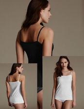 faMouS store 2-Pack WHITE + BLACK Mesh Trim Vest Cami Top Size 8 - 24