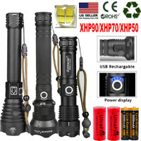 990000Lumens XHP90 Zoom Flashlight LED Rechargeable Torch Headlamp Work Light