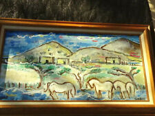 """Ivan Rane 2017 Painting Of """"New Mexico River Horses"""" Oil on canvas"""