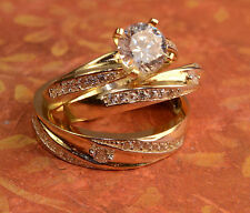 His And Hers 14k Yellow Gold Engagement Rings And Multiple Wedding Band Set