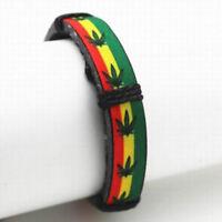 Reggae Leaf Raggae Marijuana Leather Weed Rasta Bangle Bracelet