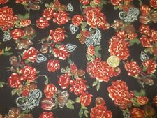 """2567 Red Floral on Black Corduroy Home Decor. Apparel, Craft Fabric-42"""" x 3 Yds"""