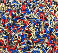 LEGO 100 NEW TECHNIC PINS AND AXLES PIECES RED BLUE GREY BLACK ASSORTED MORE