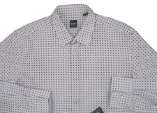 NEW $165 Hugo Boss Black Label Slim Fit Shirt!  XXL Gray with Geometric Design