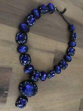 Stunning Navy Blue Crystals Zara Statement Necklace Prom Wedding Engagement