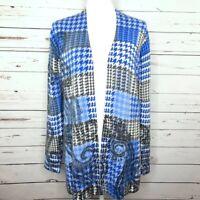 Talbots Houndstooth Wool Cardigan Women M Long Sleeve Sweater Open Front Blue