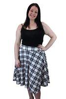 New Ladies Womens Plus Size Flared Tartan Checked Skater Skirt Sizes 14-28