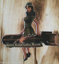 """Pin up Autocollant rétro sticker """"Better boom"""" Lady bombe rockabella pinup girl"""
