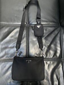 Prada Nylon And Saffiano Leather Man Bag With Strap
