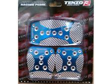 TENZO #TAP1000BLSL 3-PC MOMO PEDAL SET BLUE W/SILVER CARBON FIBER UNIVERSAL FIT