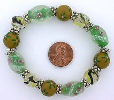 Glass Pewter Stretch Bead Bracelet m31 Green Yellow Olive Floral Flower Lampwork