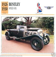 BENTLEY SPEED SIX 1926 1930 CAR VOITURE Great Britain GRANDE BRETAGNE CARD FICHE
