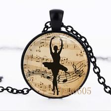 Ballet Dancer Necklace photo Glass Dome black Chain Pendant Necklace wholesale
