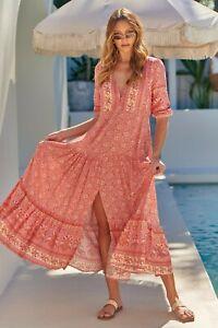 JAASE WOMEN'S TESSA MAXI DRESS STRAWBERRIES AND CREAM FLORAL PRINT GENEROUS SIZE