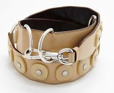 YVES SAINT LAURENT Tan Beige Leather Silver Ring Stud Detail Women's Waist Belt