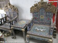 Palace Copper Bronze cloisonne 9 Dragon table Emperor's chair stool Throne Set